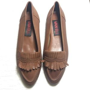 Vaneli brown leather loafers 9.5